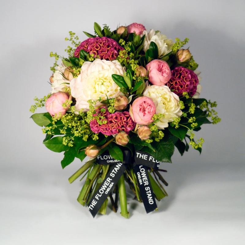 10 Stunning Dahlia Wedding Bouquets: Celosia & Dahlia Spring Bouquet