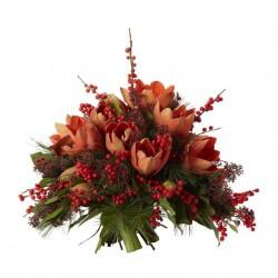 Amarylis and Ilex bouquet