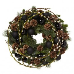 Pussy Willow and Black Bauble Cristmas Wreath