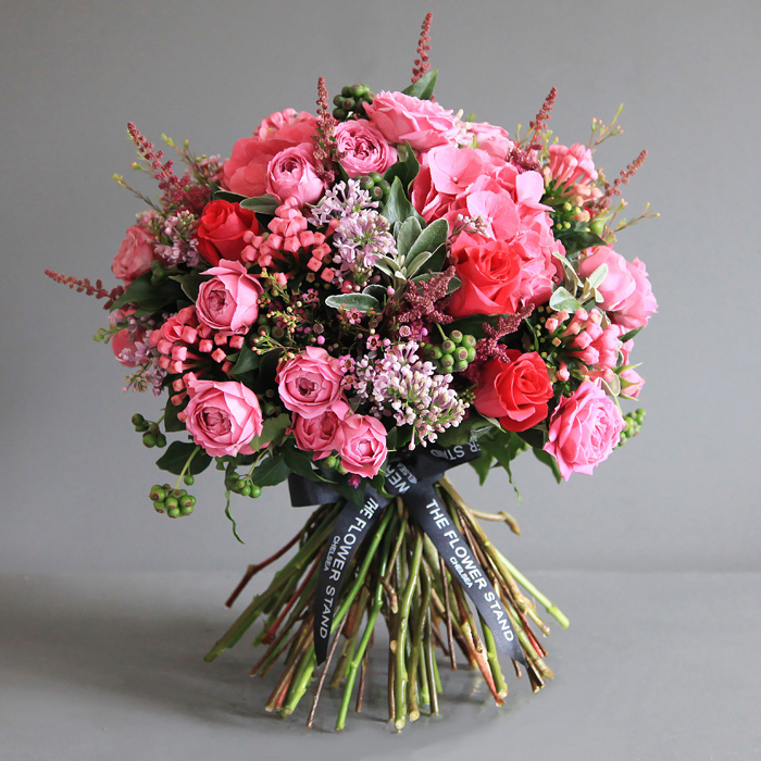 Luxury pink cerise bouquet london same day flower delivery