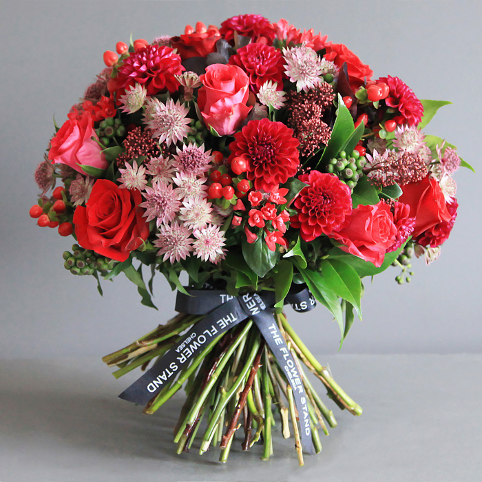 red rose and dahlia bouquet