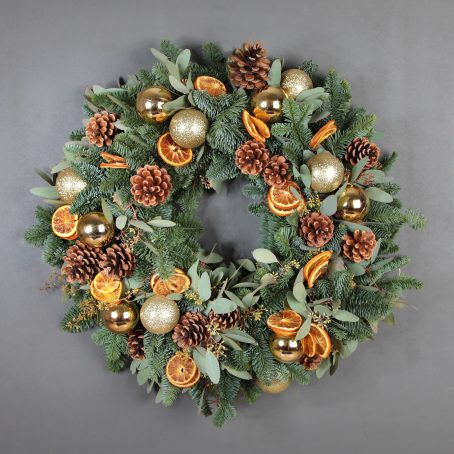 Gold baubles and orange slice Christmas wreath