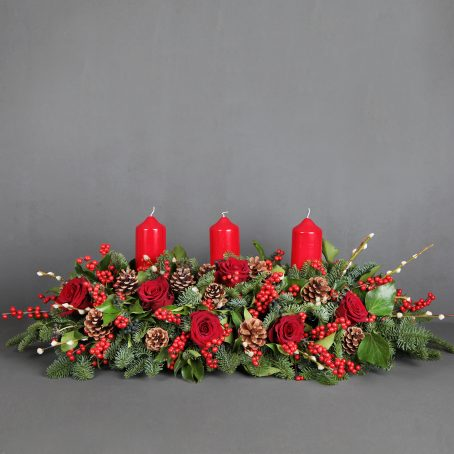 Red Candle Christmas Centrepiece
