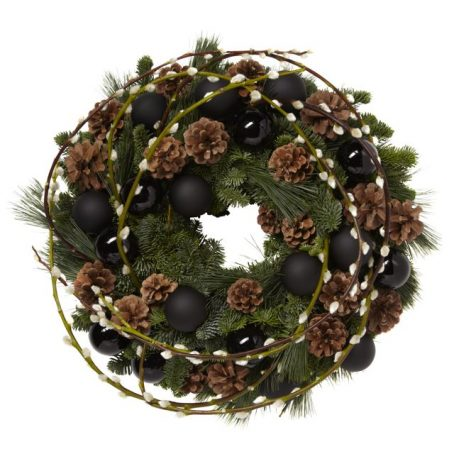 Pussy-Willow-and-Black-Bauble-Cristmas-Wreath