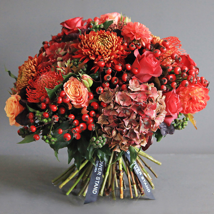 Luxury autumnal hydrangea bouquet same day flower