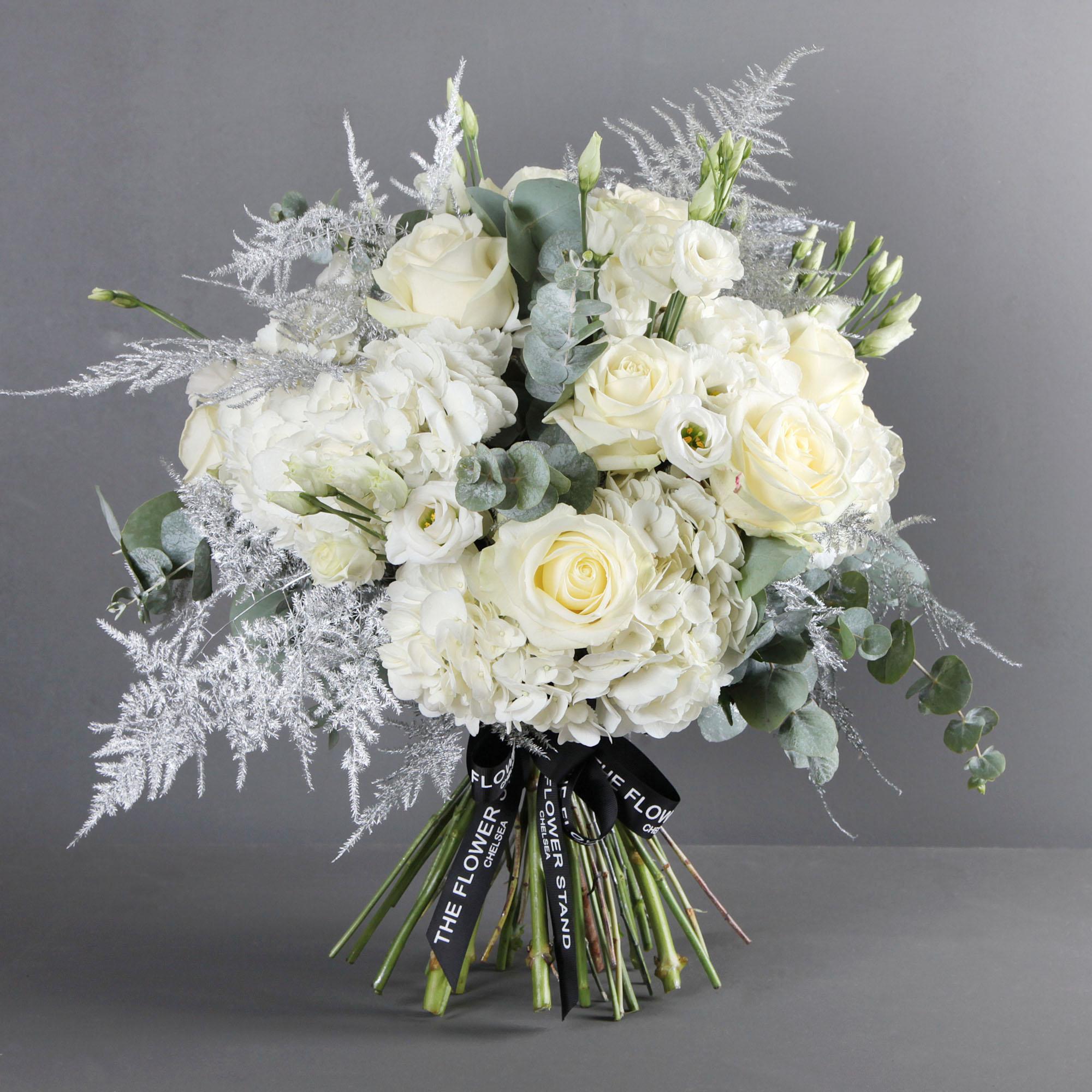 White Christmas Bouquet Festive White Roses Hydrangeas Same Day