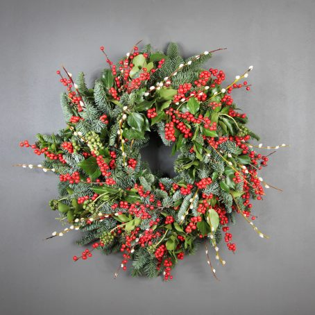Red Ilex and Pussi Willow Christmas wreath