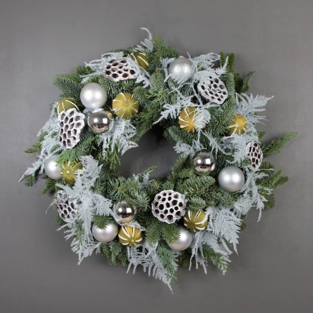 White Asparagus and Lotus pod Christmas wreath