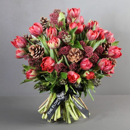 Red Tulip Christmas Bouquet