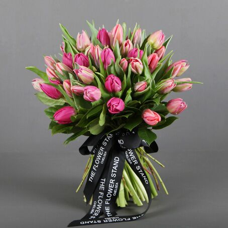 Mixed pink tulip luxury bouquet london florists