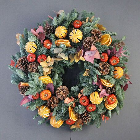 luxury-rustic-orange-christmas-wreath-pine-door-decoration-free-delivery