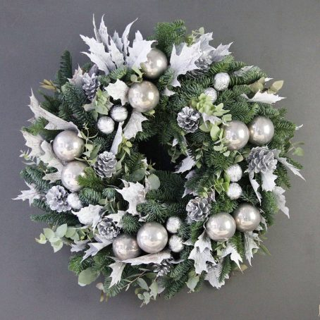 white-silver-designer-pine-wreath