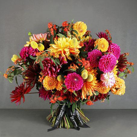 Dahlias, Euphorbia and Craspedia designer bouquet